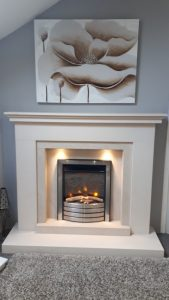 Tempest Stone Fireplace, Inc downlights , was £1180 . NOW £799 Ex Display . (Fire extra)