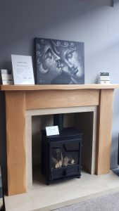 Cottage Solid Oak Mantel . Tiled chamber,slips and hearth .Was £2060 NOW £845 Ex Display