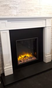 Focus Palma Mantel .black back panel , granite hearth , Gazco eReflex Electric Fire. Was £1730 NOW £ 1190 Ex Display
