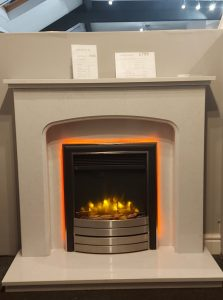 Salisbury micro marble fireplace with Ecofllame electric fire . Package Prices from £1094